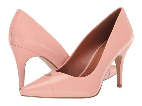 $195 NIB COACH Patrice Womens Classic Pink Leather High Heels Closed Toe Pumps