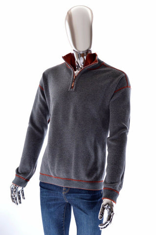 Tommy Bahama 1/4 Zip Reversible Gray Orange Mens Designer Sweater - Size XL