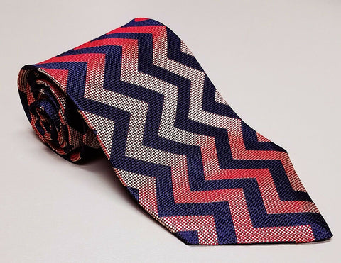 $125 NEW Oscar de la Renta Mens Navy Blue Red & Gold Silk Dress Accessory Tie