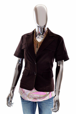 Trina Turk Womens Los Angeles Dark Brown Short Sleeve Stretchy Blazer Jacket - 6