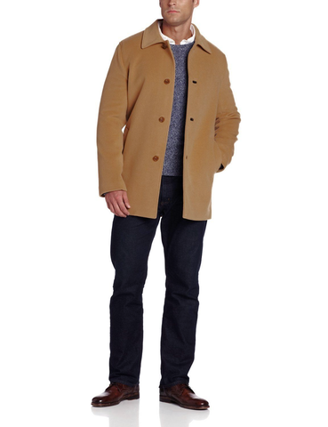 $595 NWT NEW Cole Haan Mens Classic 3-Button Cashmere Wool Topcoat in Camel