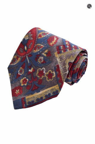 Christian Dior Mens Geometric Floral Red & Blue Silk Designer Accessory Neck Tie