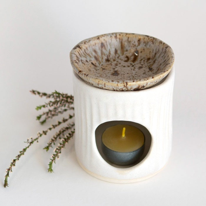 Kim Wallace Ceramics Oil Burner Oatmeal /Spotted Gum