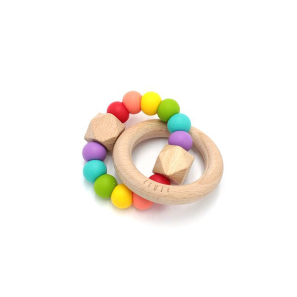 Lluie Hexx Teething Rattle Rainbow