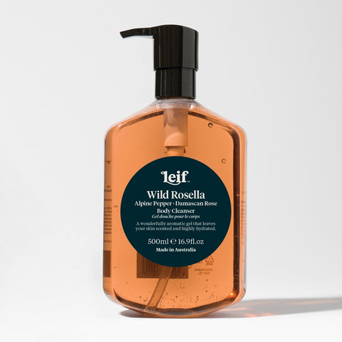 Leif Wild Rosella Body Cleanser with Alpine Pepper & Damascan Rose.