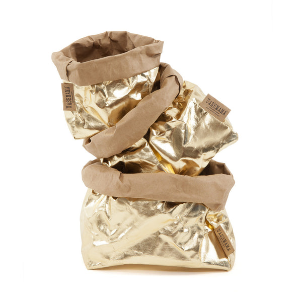 Uashmama Paper Bag Gold & Brown