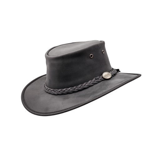 Foldaway Cow Hide Hat Black