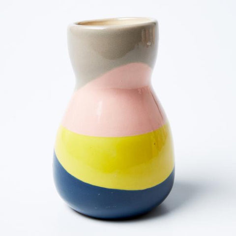 Saturday Vase Blue Yellow Splice