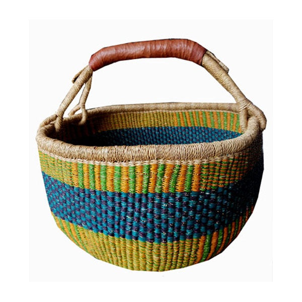 Elephant Grass Round Basket