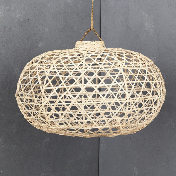 Handwoven Short Bamboo Light Shade Whitewash