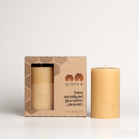 Queen B Solid Pillar Candle 8cm Pack of 2