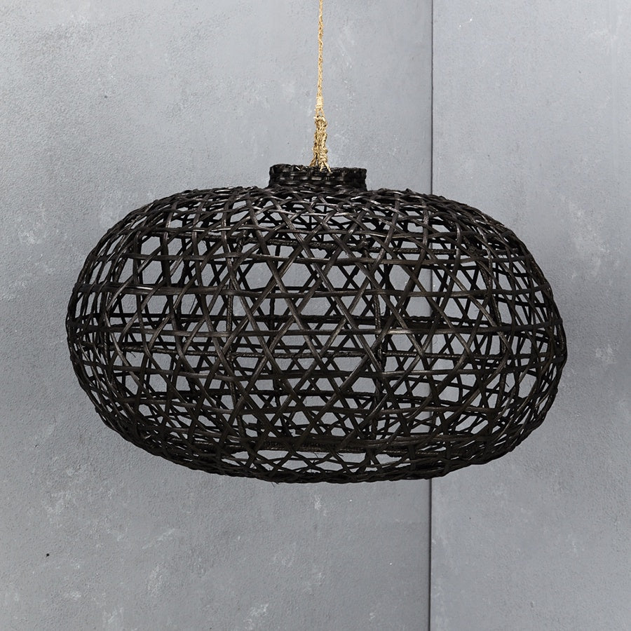 Inartisan Handwoven Short Bamboo Light Shade Black