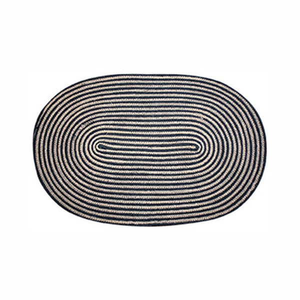 Black Stripe Jute Oval Mat 45x70cm