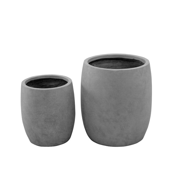 Concrete Barrel Pot 1313G Grey