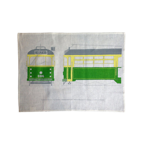 Old Green Rattler Tram Tea Towel