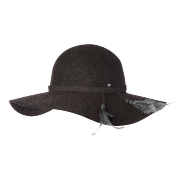 Ladies Wide Brim Ever After Wool Hat Charcoal
