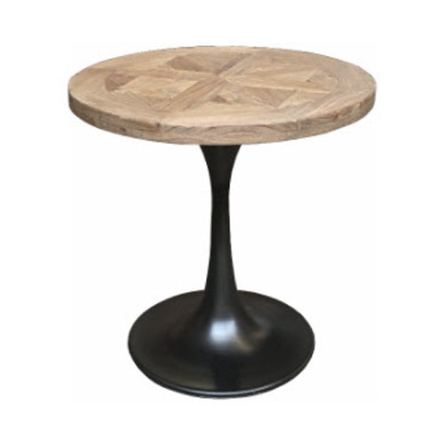 Parquetry Side Table w Iron Base
