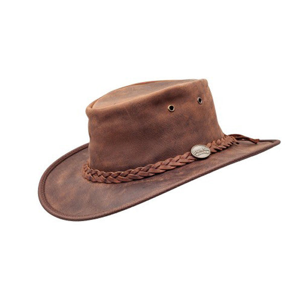 Foldaway Cow Hide Hat Brown