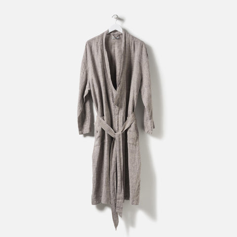 Citta Beau Men's Linen Dressing Gown Black/Natural