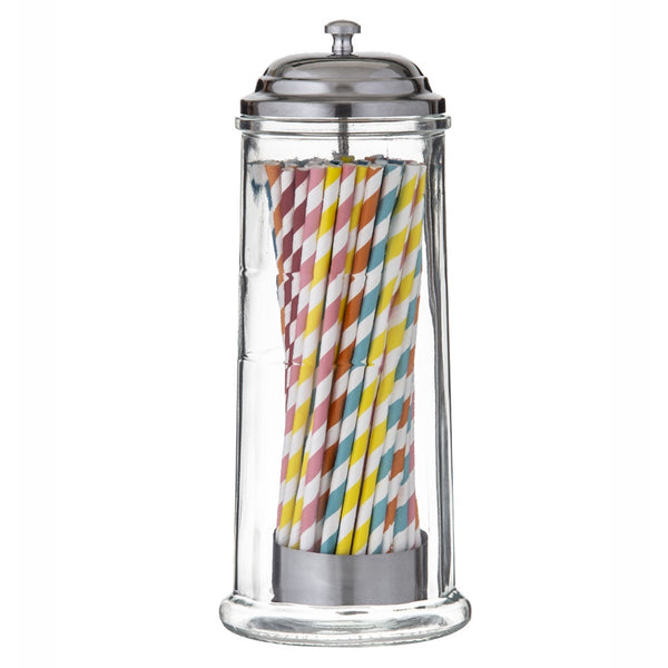 Vintage Style Glass Straw Dispenser