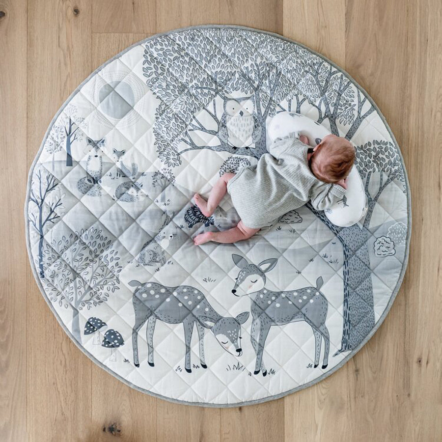 Mister Fly Woodland Water Resistant Playmat & Tummy Time Pillow