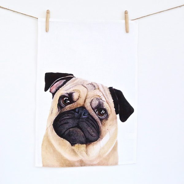 Pedro Pug Tea Towel