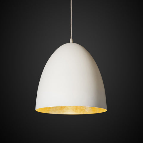 Egg Pendant White Brass