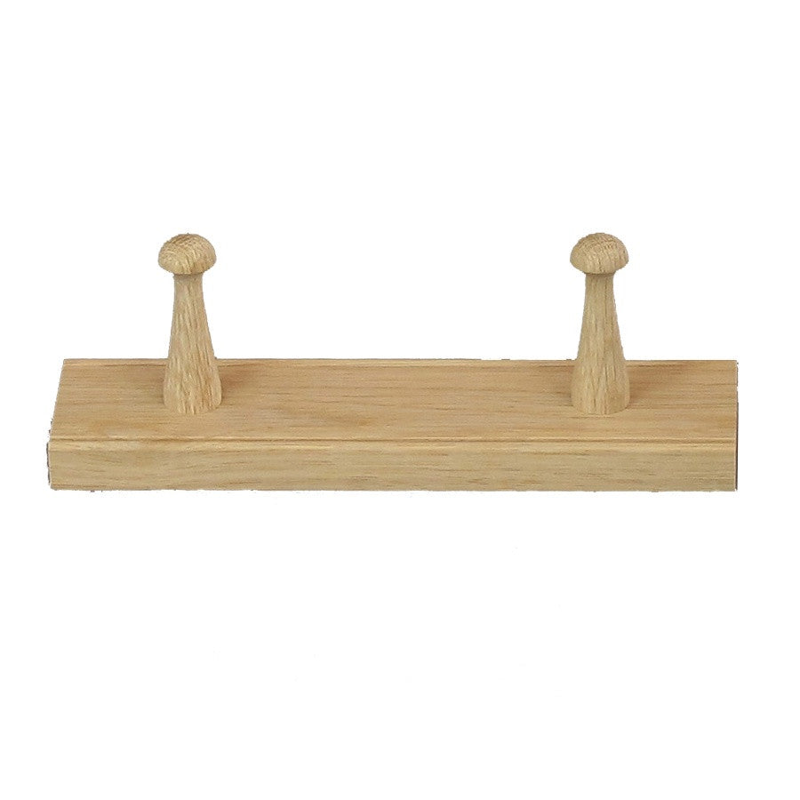 Oak Peg Rail 25.5cm - 2 Pegs
