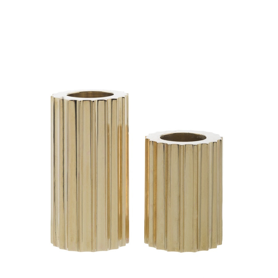 Zakkia Ribb Candle Holder Set of 2 Brass