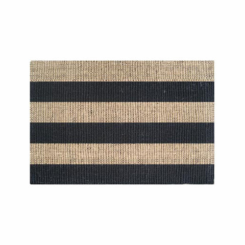 Coir Black Stripe Mat w Rubber Backing 60x90cm