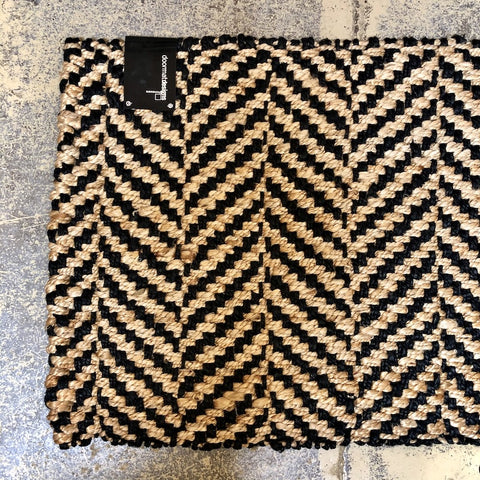 Jute  Natural & Black Weave Mat