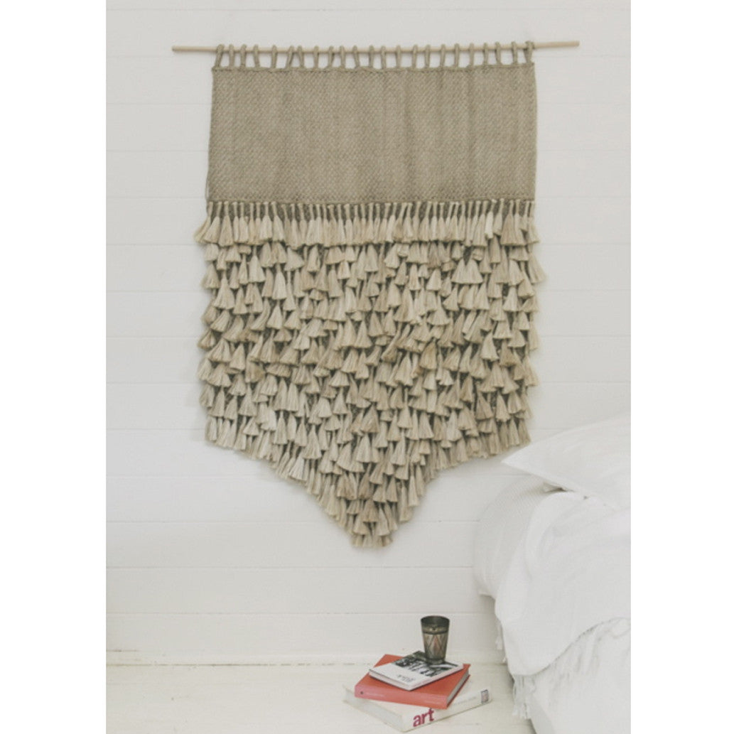 Jumbo Jute Wall Hanging - Natural with Tassels