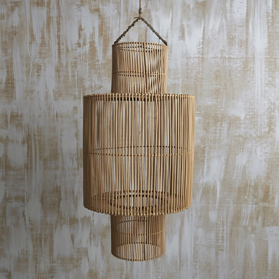 Handwoven Rattan Cylindrical Light Shade Natural
