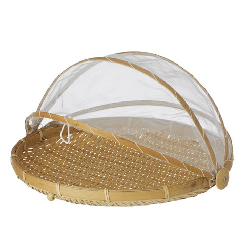 Collapsible Mesh Food Cover w Bamboo Tray