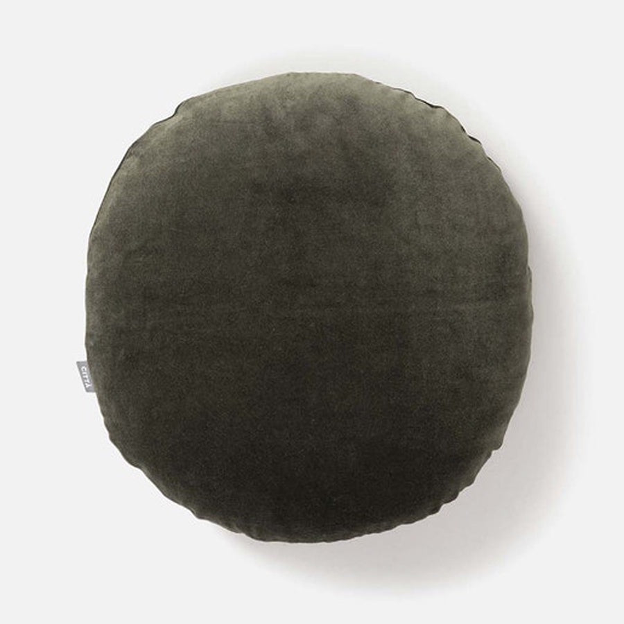 Citta Cotton Velvet Round Cushion Nori