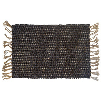 Charcoal & Natural Speck Fringed Mat 60cm x 90cm