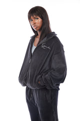 Chicago Velour Zip Up (Black)