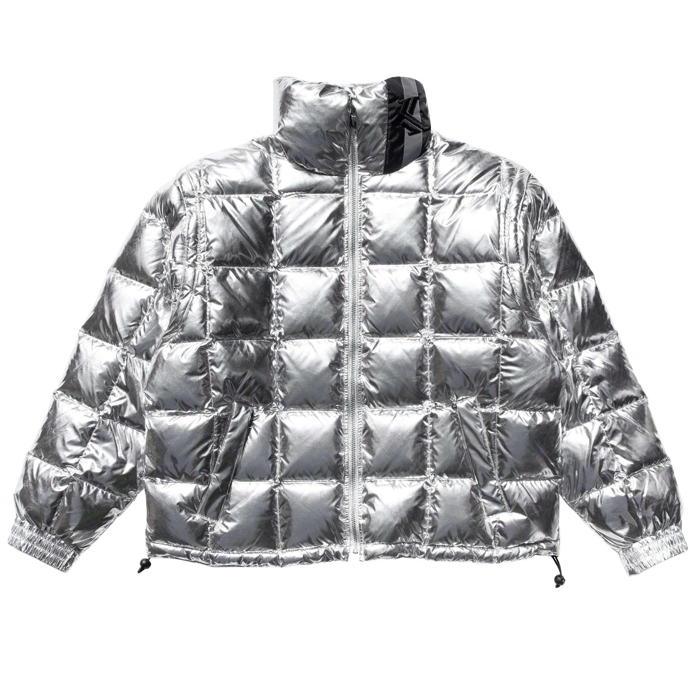 KARL KANI BUBBLE INSULATED JACKET BLACK SILVER REVERSIBLE COAT MENS OUTERWEAR