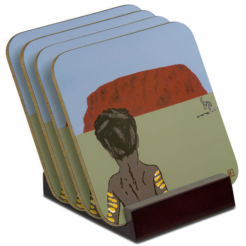 'Child Near Uluru' - TIMBER Coaster Set (4)