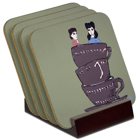 'High Tea For Two' - TIMBER Coaster Set