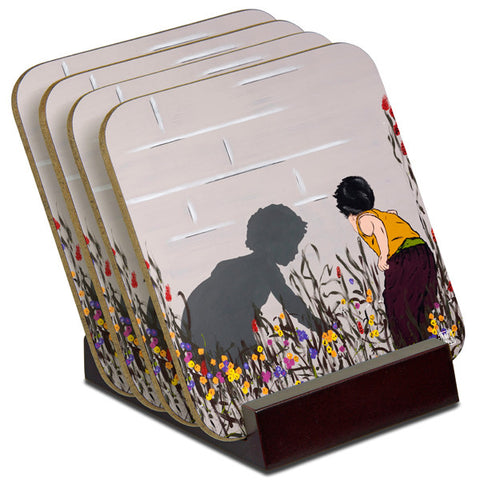 'In The Garden' - TIMBER Coaster Set (4)