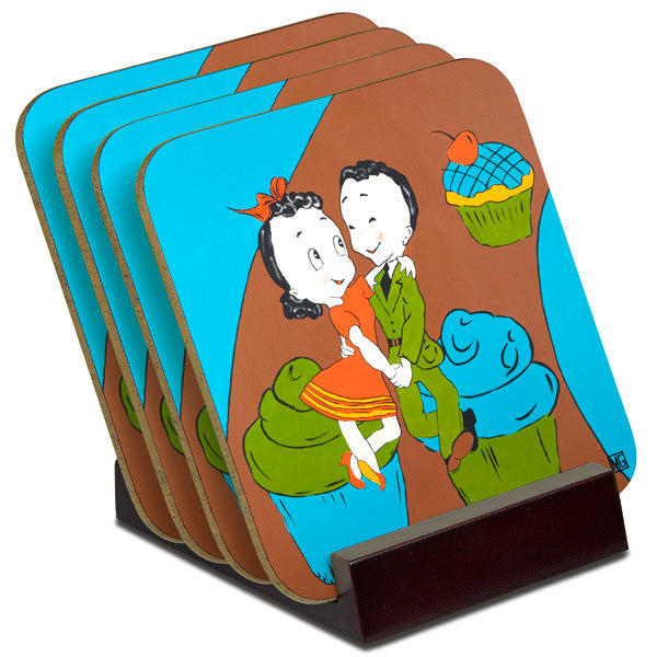 'Sweet Dancing' - TIMBER Coaster Set (4)