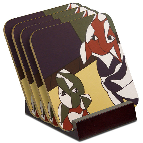 'Two Dogs' - TIMBER Coaster Set (4)