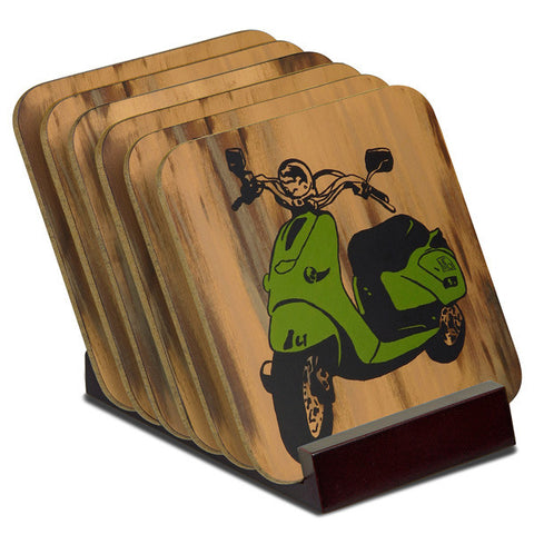'Vespas' - TIMBER Coaster Set (6)
