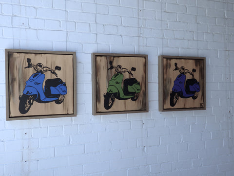 Three Vespa's (Triptych) - ORIGINAL PAINTING. SOLD!