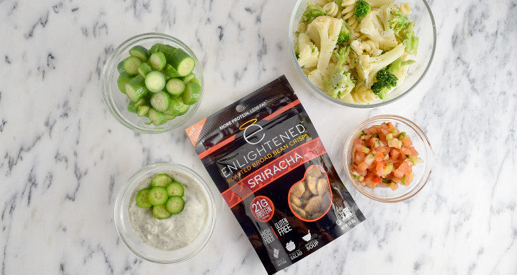 Sriracha Roasted Broad Bean Crisps with Ingredients
