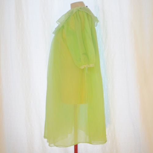 VINTAGE 1950's CHIFFON NIGHTGOWN LINGERIE DRESSING GOWN XS