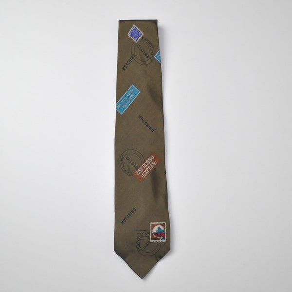 Moschino air mail brown espresso tie