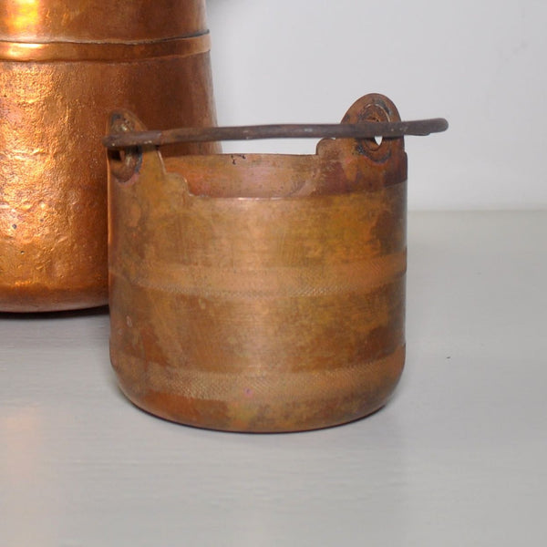 SMALL COPPER POT WITH IRON HANDLES