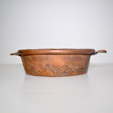 PRIMATIVE COPPER PAN WITH DESIGN/REPAIR